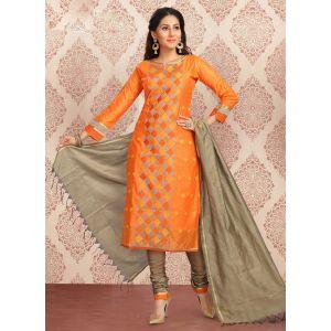 Exquisite Orange Salwar Kameez
