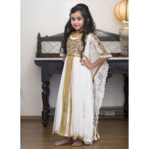 White Party Dress With Gold Handwork Girl Kaftan