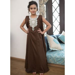 Brown Color Arabic Style Kaftan For Kids