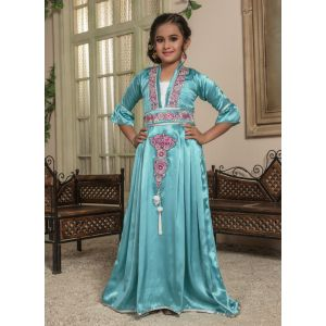 Kids Green and White color Moroccan Kaftan