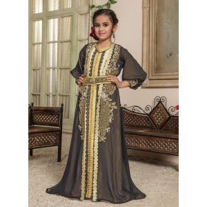 Kids Black and Beige color Moroccan Caftan