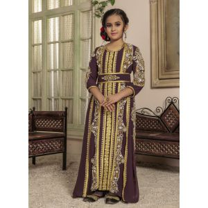 Kids Brown color Moroccan Kaftan