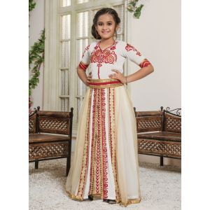 Kids Off White and Gold color Maxi Dress Caftan