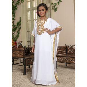 Kids White color Free Size Kaftan
