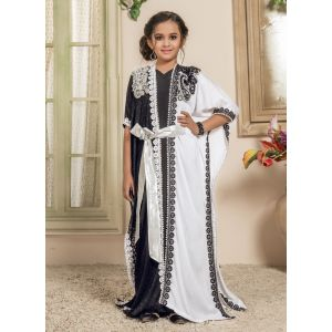Kids White and Black color Moroccan Kaftan