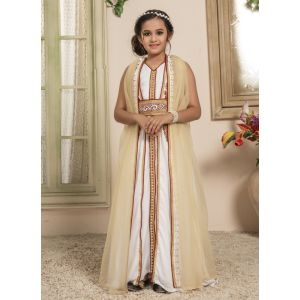 Kids White and Beige color Moroccan Kaftan