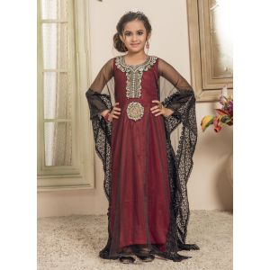 Kids Black and Red color Free Size Kaftan
