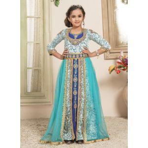 Kids Aque Blue and Blue color Maxi Dress Kaftan