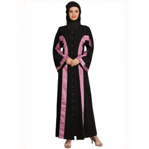 Womens Abaya Black Color Party Wear