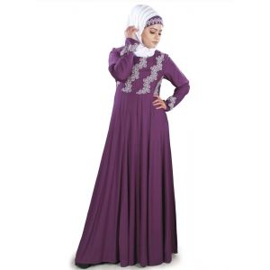 Womens Abaya Purple Color Party Wear