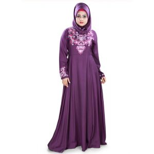 Womens Abaya Purple Color Fancy