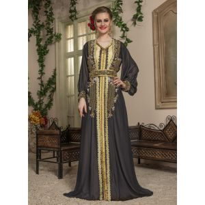 Woman Black and Beige Party Wear Kaftan