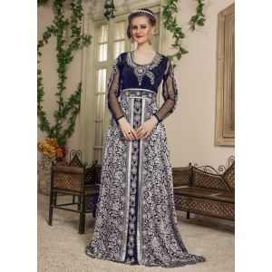 Woman Black and Grey Color Long Party Wear Full Sleeve Caftan