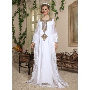 Woman White Color Long Sleeve Modest Kaftan