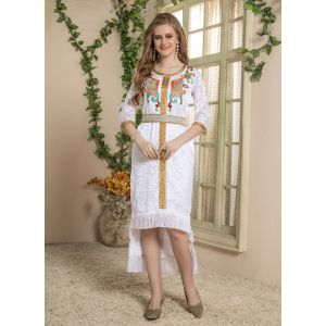 Women White color Western Style Dress