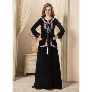 Women Black color Jacket Style Abaya