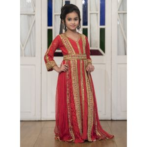Red Moroccan Style Dress With Gold Handwork Kaftan