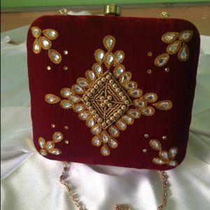 Red Colored Embroidered Clutch