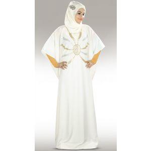 Womens Abaya White Color Marvelous