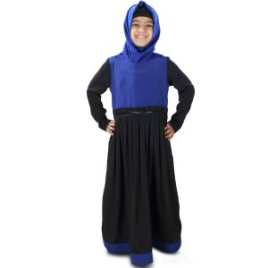 Black and Blue color Kid's-Crepe Kid's Abaya