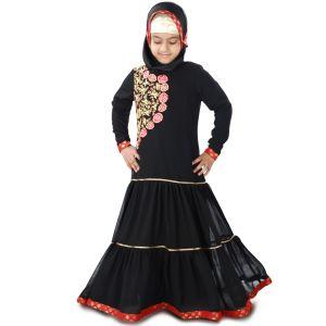 Black color Kid's-Georgette Kid's Abaya