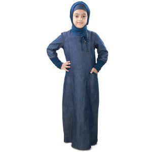 Blue color Kid's-Denim Kid's Abaya