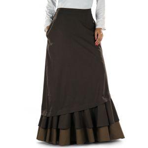 Brown color Skirt-Poplin Skirt