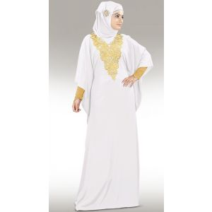 Graceful Nelam Gold Embroidered White Kaftan