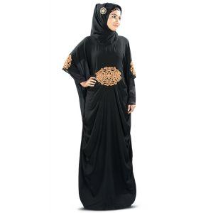 Glamourous Amara Copper Embroidered Black Kaftan