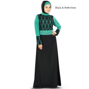 Sarrinah Black & Bottle Green Embroidered Abaya
