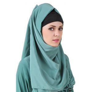 Green color Designer-Crepe Hijab