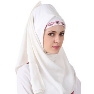 White color Designer-Georgette Hijab