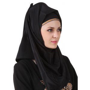 Black color Designer-Crepe Hijab