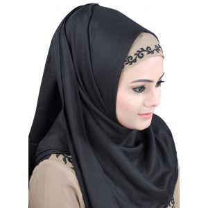 Black color Designer-Rayon Hijab