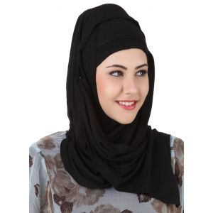 Black color Designer-Jersey Hijab
