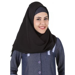 Black color Designer-Denim Hijab