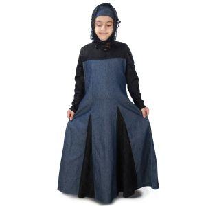 Blue and Black color Kid's-Denim Kid's Abaya