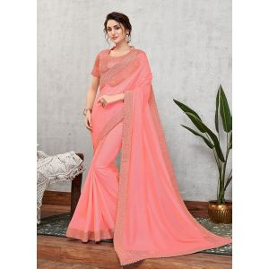 Pink Color Traditional Events Saree