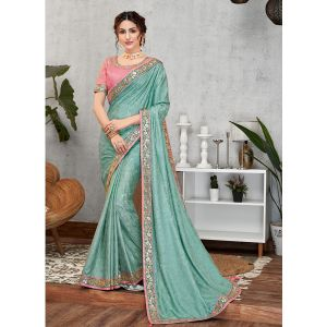 Blue Color Traditional Events Saree
