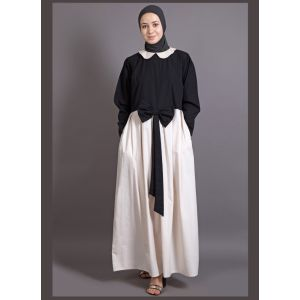 Womens Abaya Black & Off White Color Maxi Dress