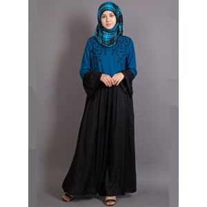 Womens Abaya Turquoise & Black Color Embroidery wear