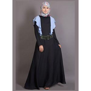 Womens Abaya Black & Blue Color Fancy