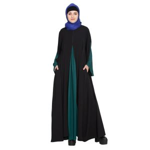 Womens Abaya Black & Green Color Casual wear