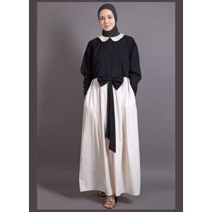 Womens Abaya Black & Off White Color Maxi Dress