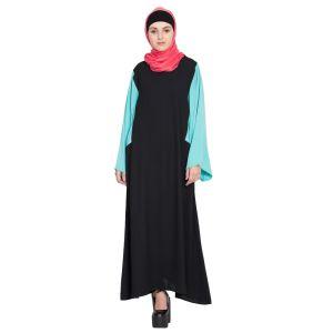 Womens Abaya Black & Blue Color Casual wear