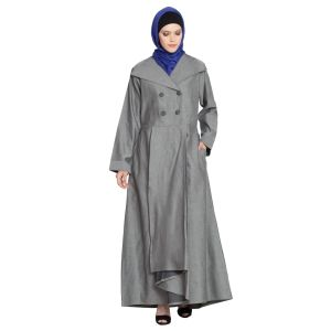 Double Breasted Pleated Coat Abaya