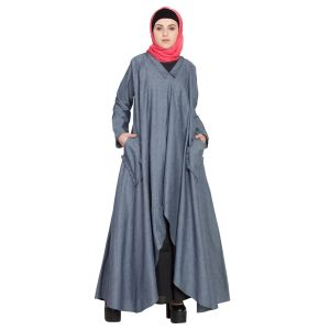 Womens Abaya Blue & Black Color Designer wear