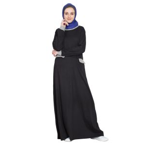 Womens Abaya Black & Grey Color Attractive