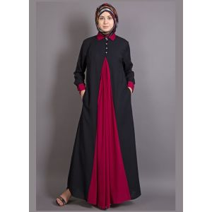 Womens Abaya Black & Maroon Color Graceful