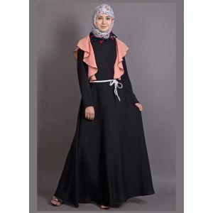 Womens Abaya Black & Orange Color Graceful